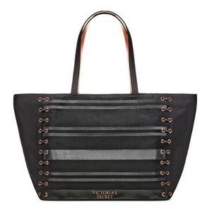Victoria's Secret Black Lace Up Weekend Tote Bag